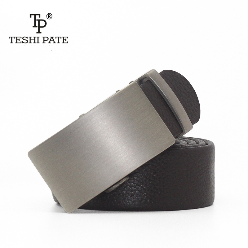 TESHI PATE TP genuine leather belts Formal business workplace senior alloy mens top leather belt 100-130 cm long waist 2018