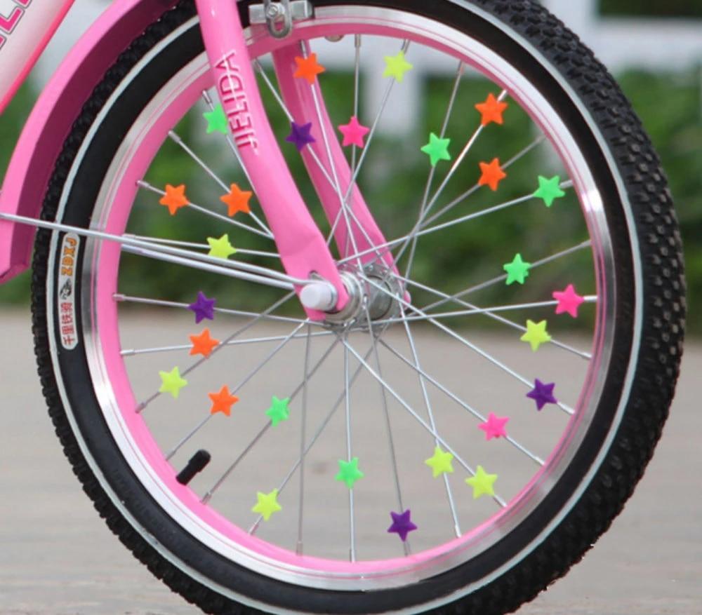 Bicycle Bike Wheel Plastic Spoke Bead Children Kids-Clip-Colored-Decoration G9.
