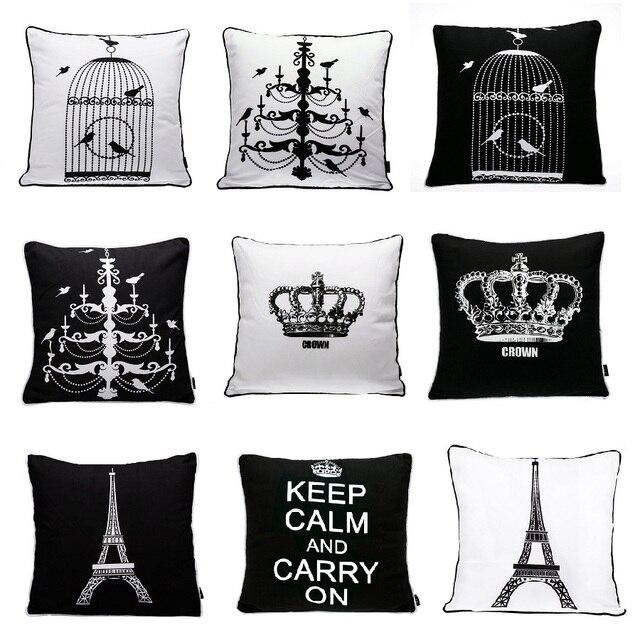 25 Estilos París Torre Eiffel Corona Suave Cojines Tapas Blanco Y