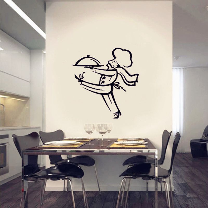 French chef dress style cartoon wall sticker art