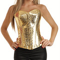 Sexy Women Lace up Shining Golden Corset Bustier Lingerie Overbust slimming shapewear