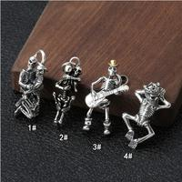 100% 925 Silver Skeleton Charm Solid 925 Sterling Silver Skull Pendant Punk Jewelry Small Pendant Skeleton Jewelry