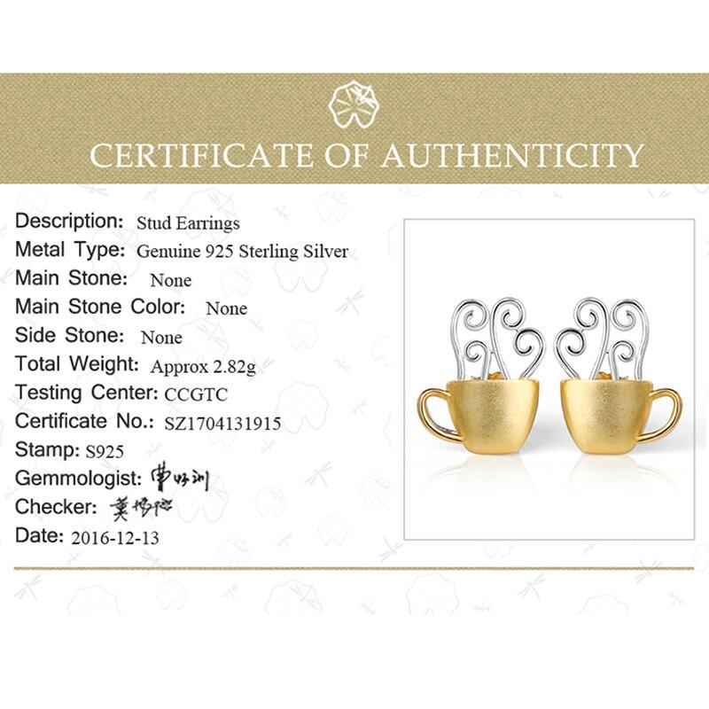 Lotus Fun réel 925 en argent Sterling goujons créatif à la main bijoux fins tasse à café chaud mode boucles d'oreilles pour les femmes Brinco - 6
