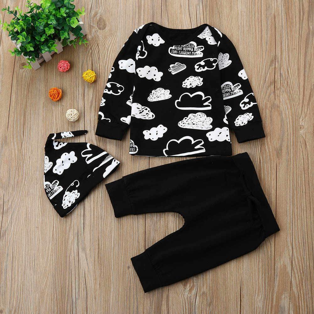 Newborn Baby Girl Boy Outfits Infant Cloud Print T Shirt Tops+Pants Clothes Set carters baby boy summer clothes bebek giyim