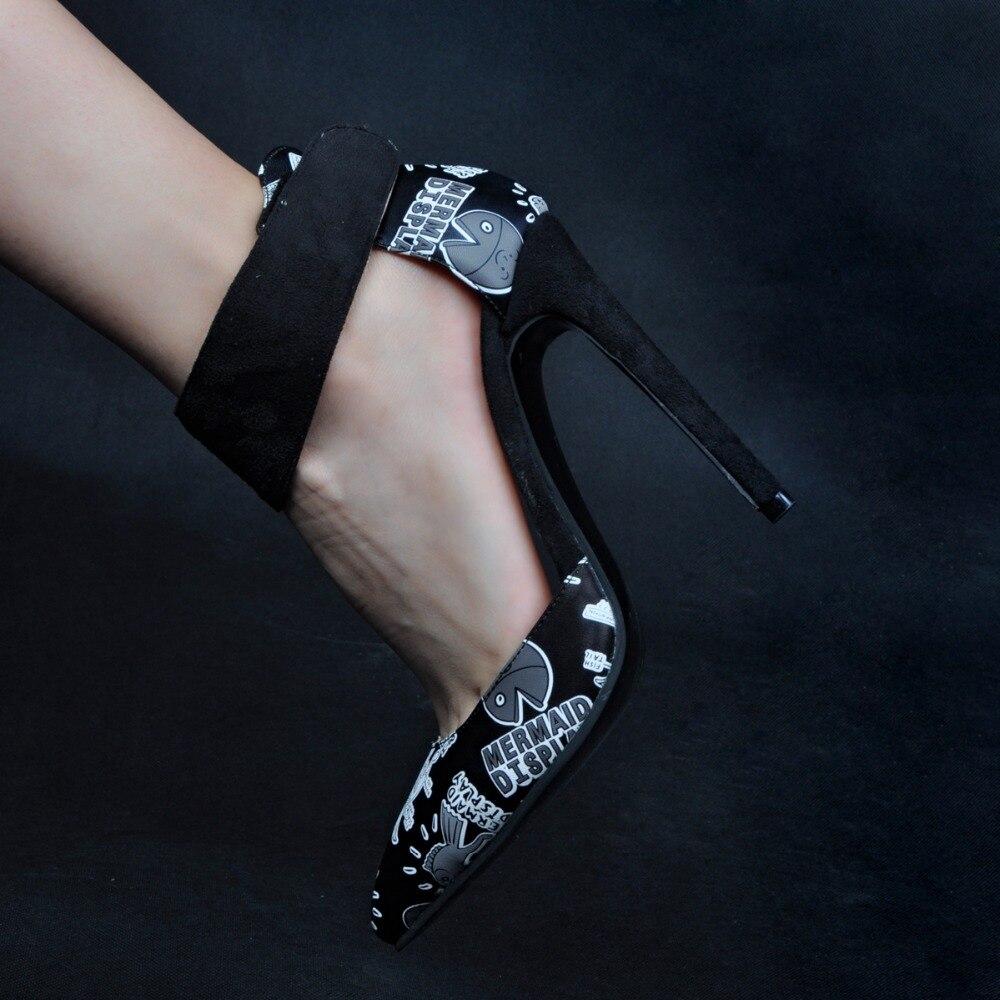 ФОТО Interesting Graffiti Women Pumps High Heels New Fashion Hook & Loop Pumps Summer PU Leather Pointed Toe Novelty Woman Shoes