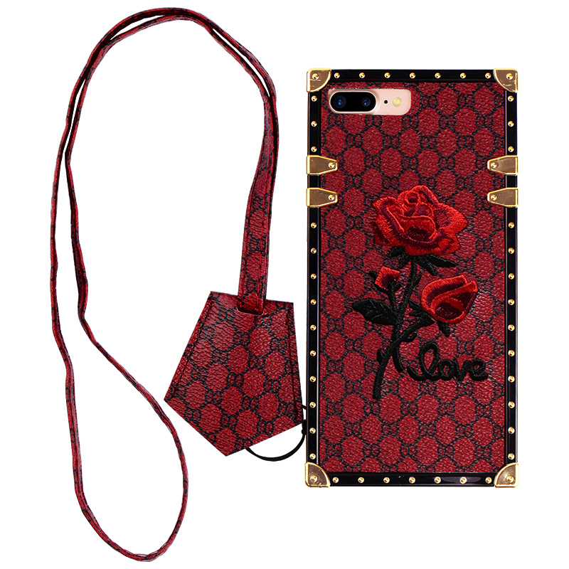 Wholesale  Smart Funky TPU Soft Embroidery Rose Mobile Phone Case for iphone 6/6splus/7/8plus/X/XSWith Chain Girls