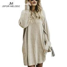 Осень-зима Для женщин Платья-свитеры свободные сексуальные миди серый вязаный Платья для женщин женские Повседневное Bawting рукава Vestidos Femme Z30