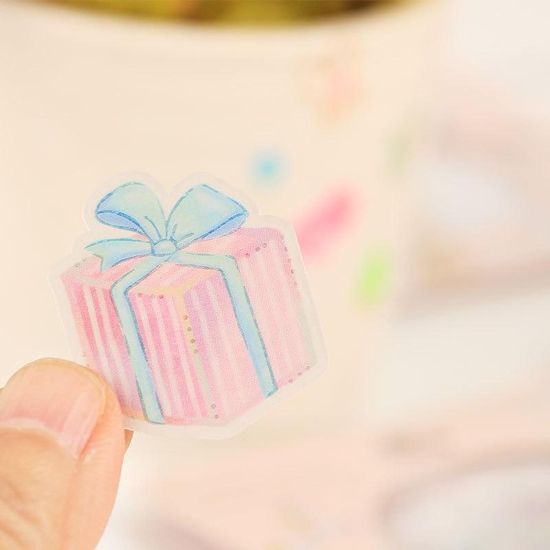 48Pcs Crystal Ball Cat Candy Stickers Kawaii Stationery Scrapbooking Decoration