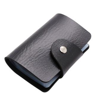 Fashion PU Leather Function 24 Bits Card Case Business Card Holder Men Women Credit Passport Card Bag ID Passport Card Wallet Passport & ID Holders