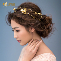 Gorgeous Gold Plated Leaf Headband Pearl Jewelry Crystal Tiara Women Crown Hair Ornaments Bridal Wedding Accessories