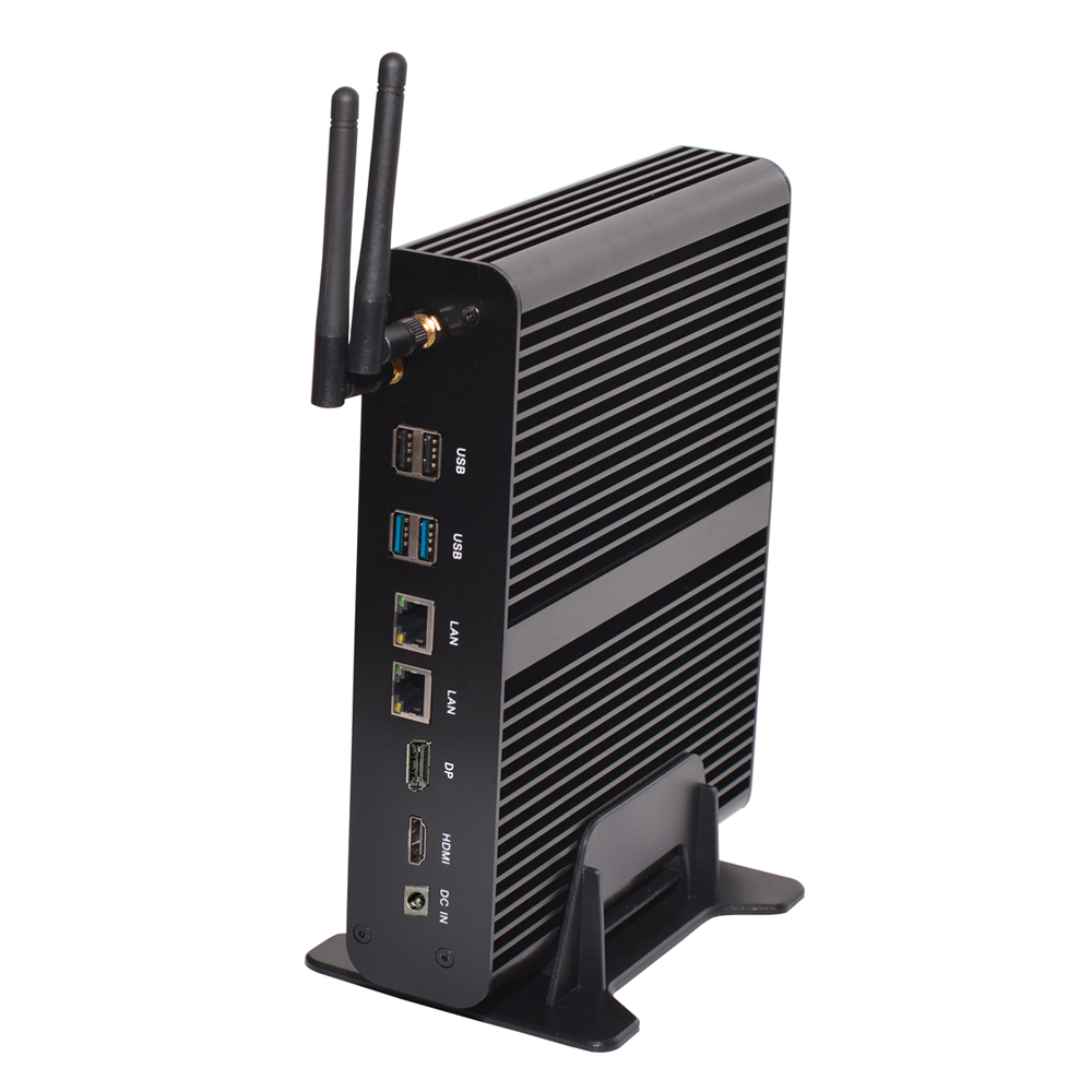 Newest 7th Gen Fanless Mini PC I7CPU 7660U 7500U Support HDMI DP SPDIF Dual LAN SD DDR4 4M Cache Up To 4.0GHz Mini Computer HTPC