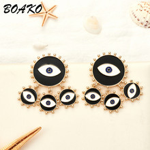 Fashion Exaggerated Big Circle Round Drop Earrings for Women Black Evil Eyes Gold Dangle Statement Hanging Punk Earings