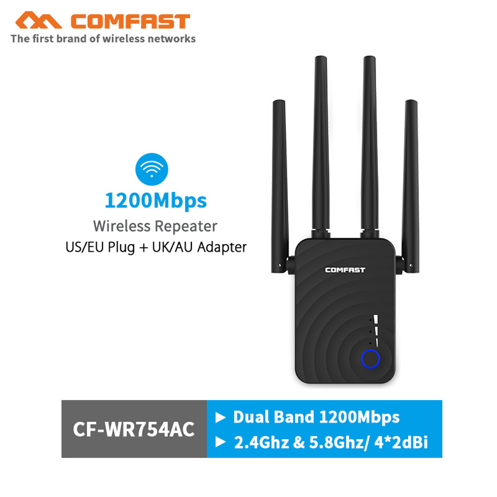 Comfast 1200Mbps Wifi Extender Wireless Wifi Repeater/Router Dual Band 2.4&5.8Ghz 4 Wi Fi Antenna Long Range Signal Amplifier