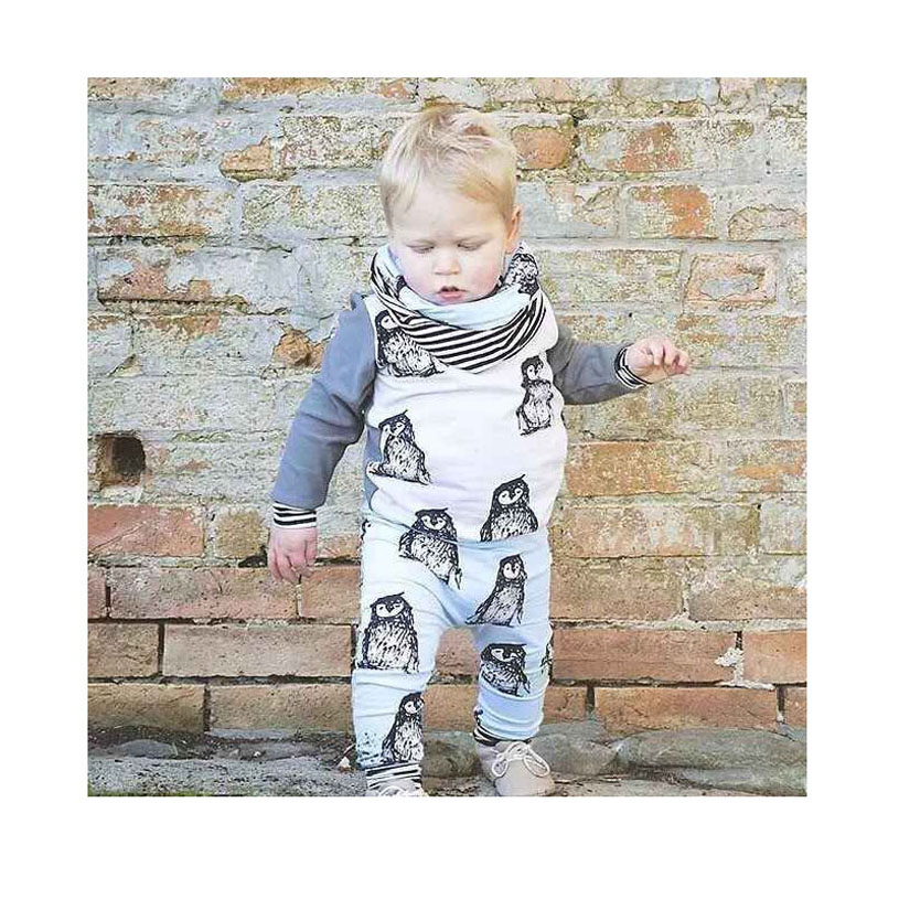 Roupa Infantil Fashion Cute Clothes Baby Boy Animal Printing Baby Outfit Three Piece Spring T Shirts