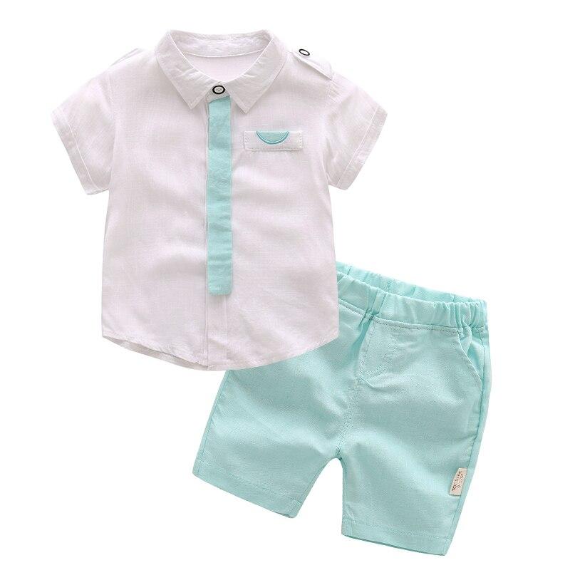 Dziecko chłopcy odzież zestaw na lato dla dzieci krótkie rękawy biały i zielony garnitur chłopiec 2 sztuka zestaw niemowlę dzieci sukienka ubrania