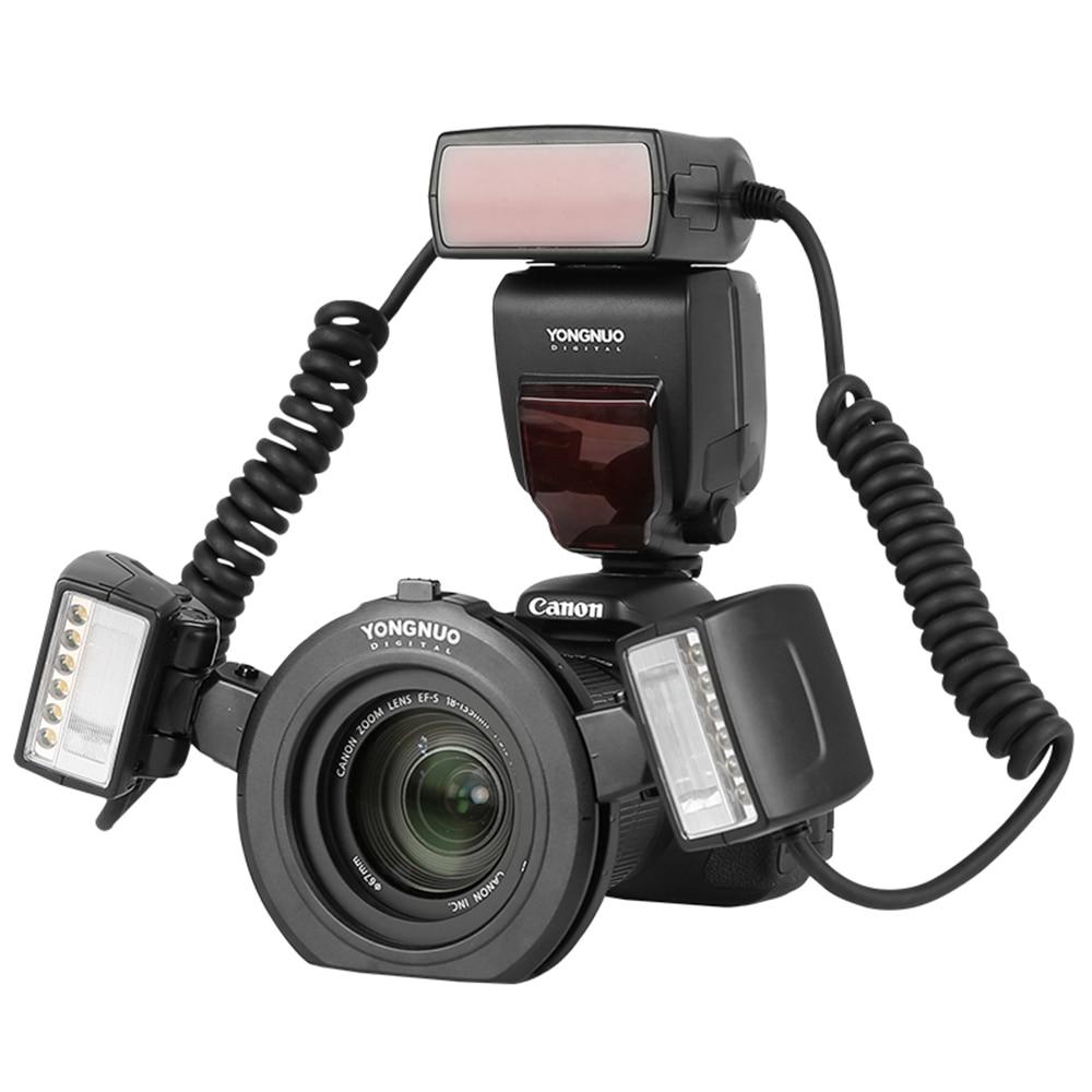 Yongnuo YN24EX E TTL Macro Flash Speedlite with Dual Flash Head +4pcs Adapter Rings for Canon 1300D 760D 700D 80D 5D2 7D Camera