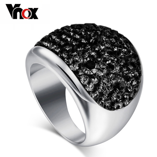 Vnox Wholesale 7 Color Big Crystal Rings for Women Austria Black Crystal Ring St