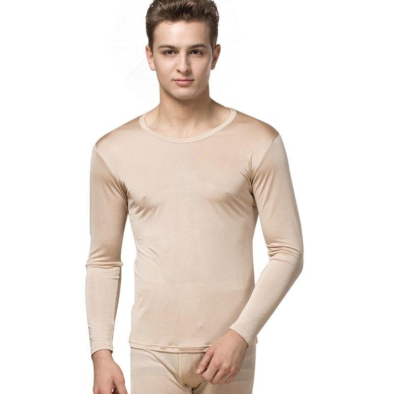 100% seda Otoño e Invierno de alta calidad de seda transpirable sección delgada ropa interior térmica conjunto de Otoño de gran tamaño para hombre ropa Pantalones - 5