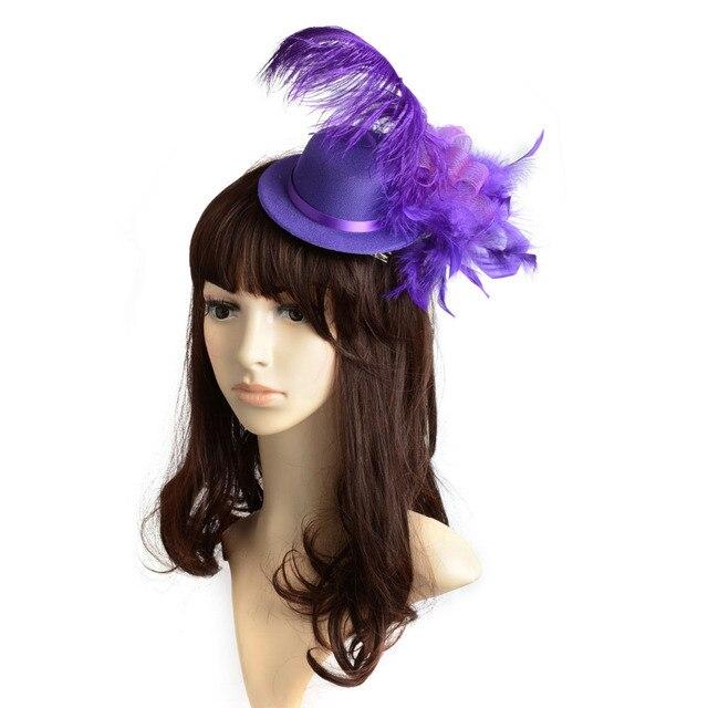 Purple Feather Mini Top Hat Organza Mesh Hair Clip Fascinator Wedding Bridal  Party Wedding Brides Hair Accessories 635c19b2ae9