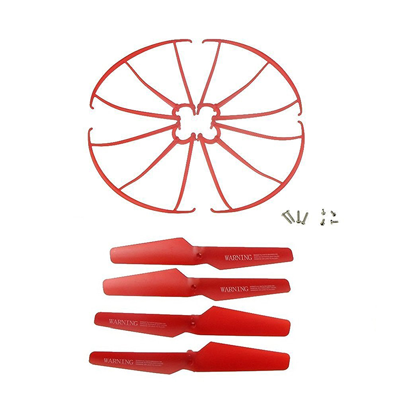 For Syma X5SW X5SC X5C-1 X5C Spare Parts 4pcs Propellers & 4pcs Protector Guards Included 8pcs Mounting Screws For RC Mini Qu