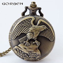 2017 new arrival large eagle pattern pocket watch male watches with long chain high quality quartz pocket watch vintage gifts