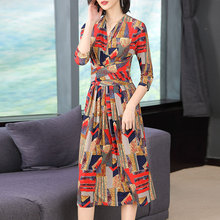 Summer Fashion Women National Wind V Neck Bohemian Beach Dress