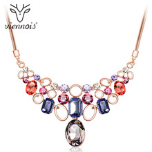 Viennois Rose Gold Color Crystal from Swarovski Chain Necklaces for Women Colorful Necklace & Pendants Wedding Bridal Jewelry(China)