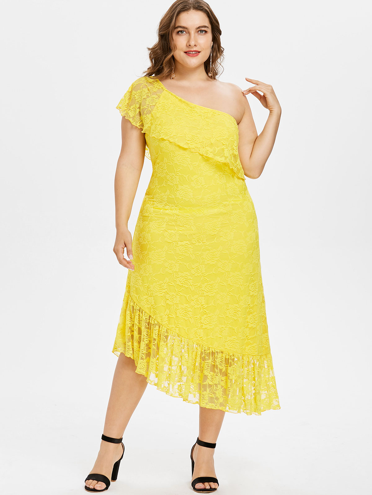 5XL Plus Size Asymmetric One Shoulder Yellow Lace Dress Ruffles Overlay Mid  Calf Short Sleeves Dress-in Dresses from Women s Clothing on Aliexpress.com  ... a9c020ba4