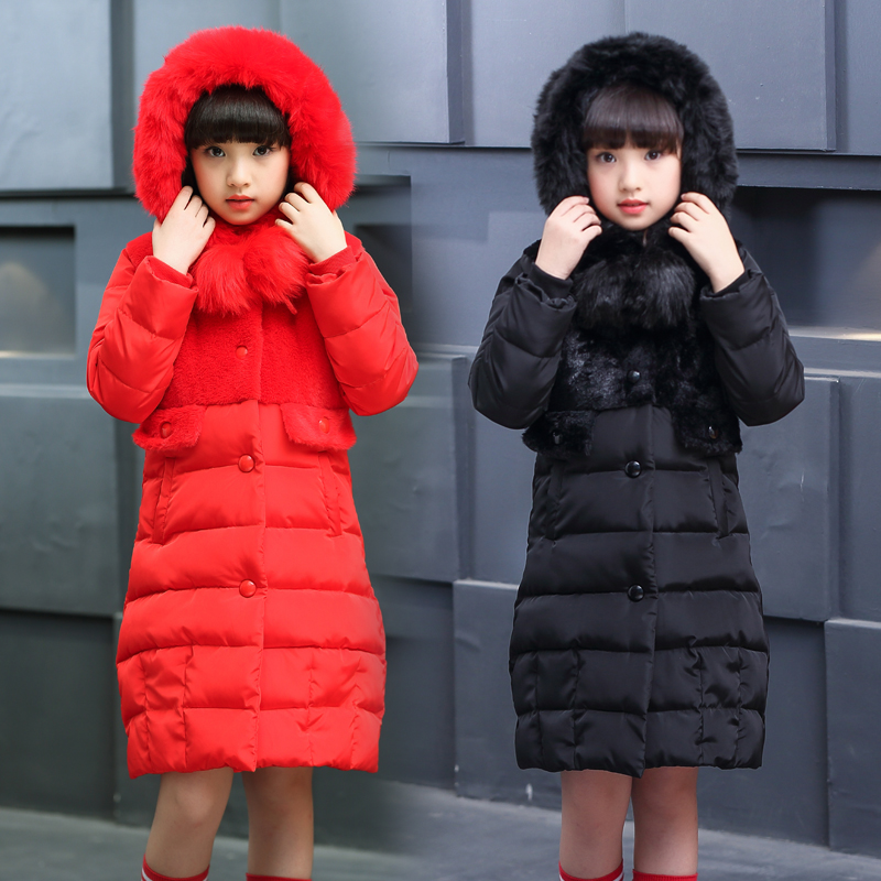 Girls Jackets & Coats New 2017 Fur Hooded Thick Warm Parka Down Kids Clothes Cotton Children's Outwear Faux Fur Fleece Clothing 2017 new coats