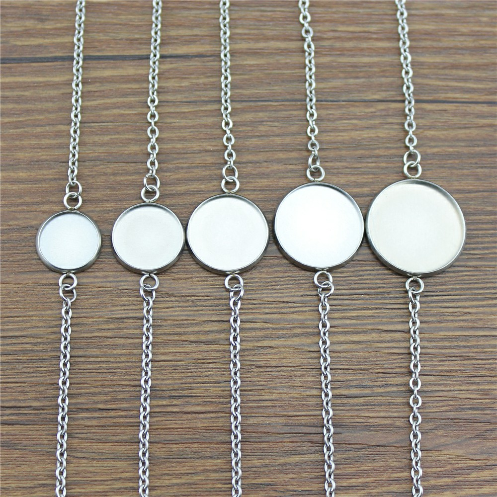 10 Styles Fit 12~20mm Glass Cabochon High Quality Stainless Steel Material Heart Cross Star Chain Bracelet Accessories 2pcs/lot