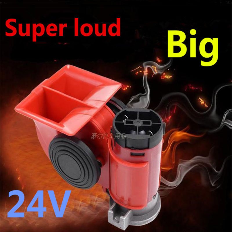 High Super GZHAOER Loud Car Motorcycle Truck 24V Red Compact Dual Tone Electric Pump Air Loud Horn Vehicle Siren Free Shipping