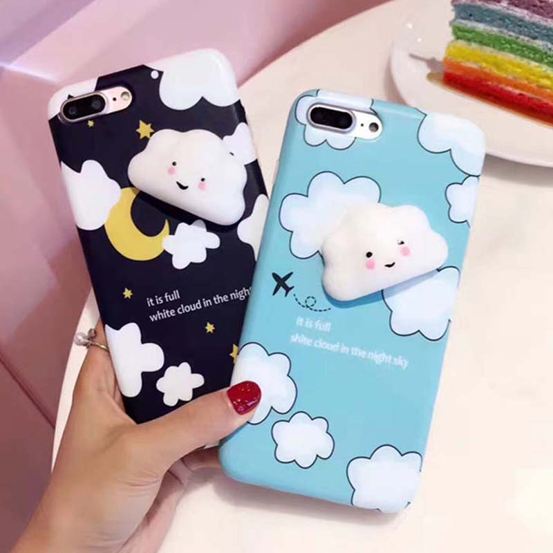 Galleria fotografica Lovely Cartoon White Clouds Squishy Phone Cases for iPhone 7 6 6s Plus Case Cute Smiling Cloud Soft Silicone stress relief Cover