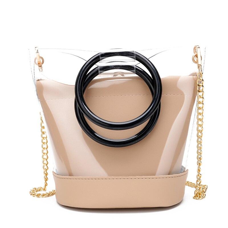 Дропшиппинг Для женщин сумочки прозрачная сумка + шнурок клатч для девочек-подростков желе цепи конфеты Crossbody сумка