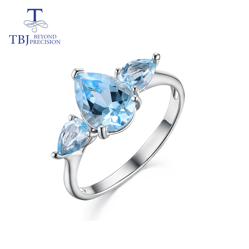 TBJ,2019 New Sky Blue Topaz Gemstone Ring 925 Sterling Silver Simple Design Fine Jewelry For Girls Best Gift With Box