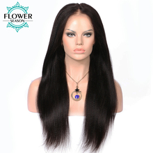 FlowerSeason Indian Pre Plucked Yaki Straight Full Lace Human Hair Wigs with Baby Hair Natural Color Non-Remy Hair Black Women