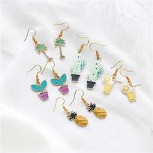Pineapple Rainbow coconut tree Butterfly Potted Love Cactus Earrings Alloy Pendant Woman Gift earrings Fashion Jewelry