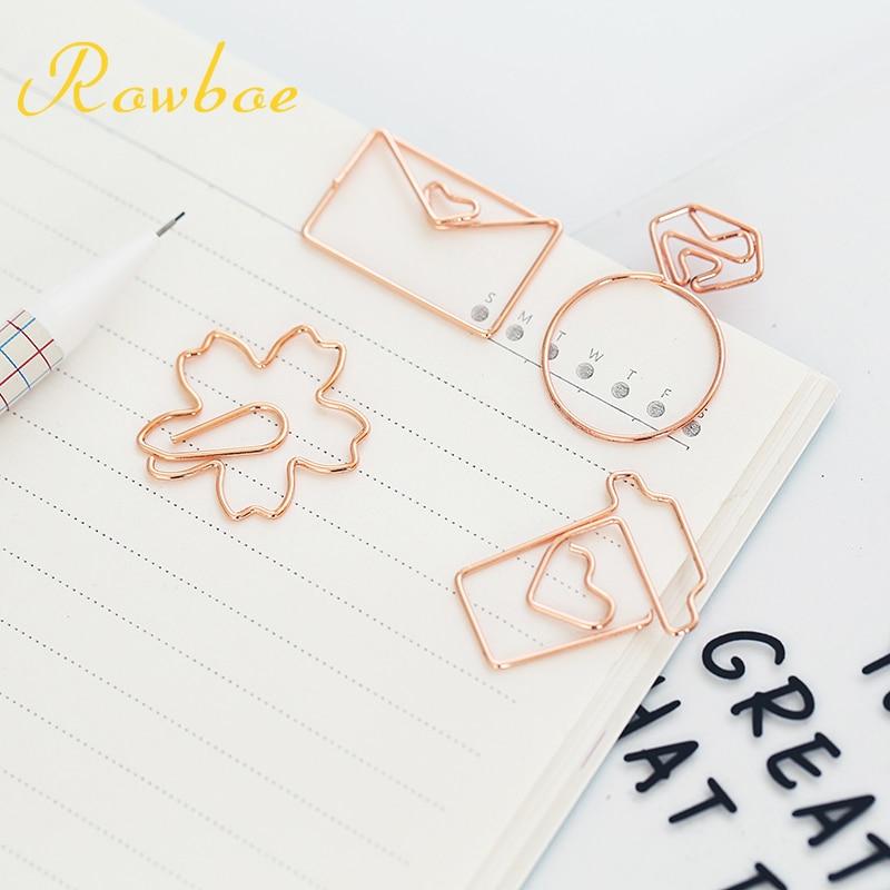 ROWBOE Cute Stationery Metal Rose Gold Creative Bookmark Paper Clip Office / Student Simple Diy Kawaii Bookmark