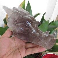 ААА + + + 614 г натуральный аметистовый драгоченный камень резной хрустальный череп дракона Рейки Исцеление ручная резьба совмещает практично