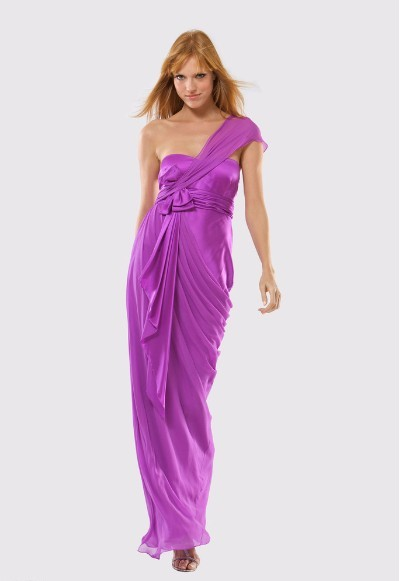 free shipping coral pink dress one shoulder vestido de renda Formal sexy purple long Elegant party prom gown Bridesmaid Dresses in Bridesmaid Dresses from Weddings Events