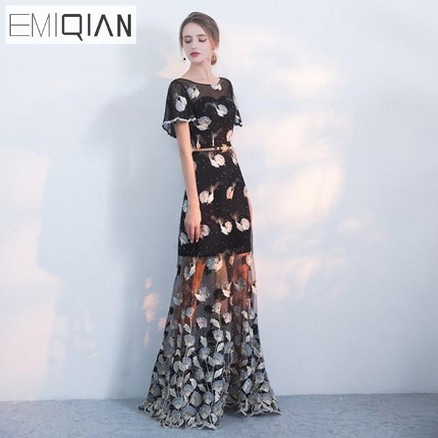 Новые дизайнерские Кепки рукавом черный Кружево длинные Вечерние платья  видеть хотя юбка Формальные Пром платье вечернее 7778036eedafe