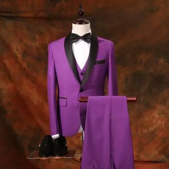 Men Purple Jacket+Pants+Vest 3 Piece Suits Groom Best Man Wedding Party Tuxedos C120