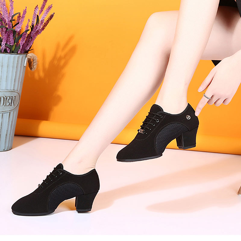 Image 4 - Breath Cloth Fabric Latin Salsa Dance Shoes For Women Middle Heels Ballroom Dance Shoes Ladies Black Non slip Modern Dance Shoes-in Dance shoes from Sports & Entertainment on AliExpress