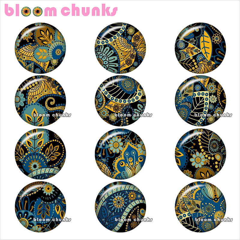 mixed  pattern design Bohemia Paisley 12mm/18mm/20mm/25mm  photo glass cabochon demo flat back Making findings  bp1901