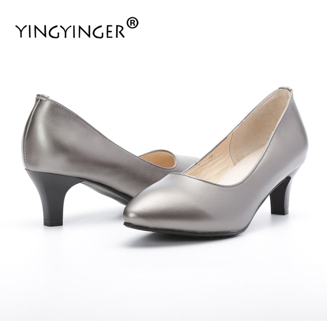 Pumps Wedding Shoes Woman Genuine Leather Custom Made Slip On Silver Heels  ladies Pumps Designer 2017 6dd18e7472b8