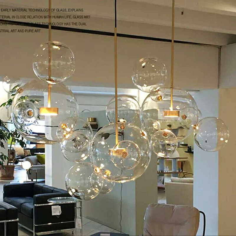 Clear glass ball living room chandeliers art deco bubble lamp shades chandelier Modern indoor lighting restaurant iluminacao stainless steel sink drain rack