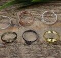 100 unids 6mm, 8mm, 10mm Cojín anillo Del espacio en blanco Bandeja, AntiqueBronze/Oro/configuración de Anillo de plata, Hecha A Mano de DIY Zakka joyas Finding