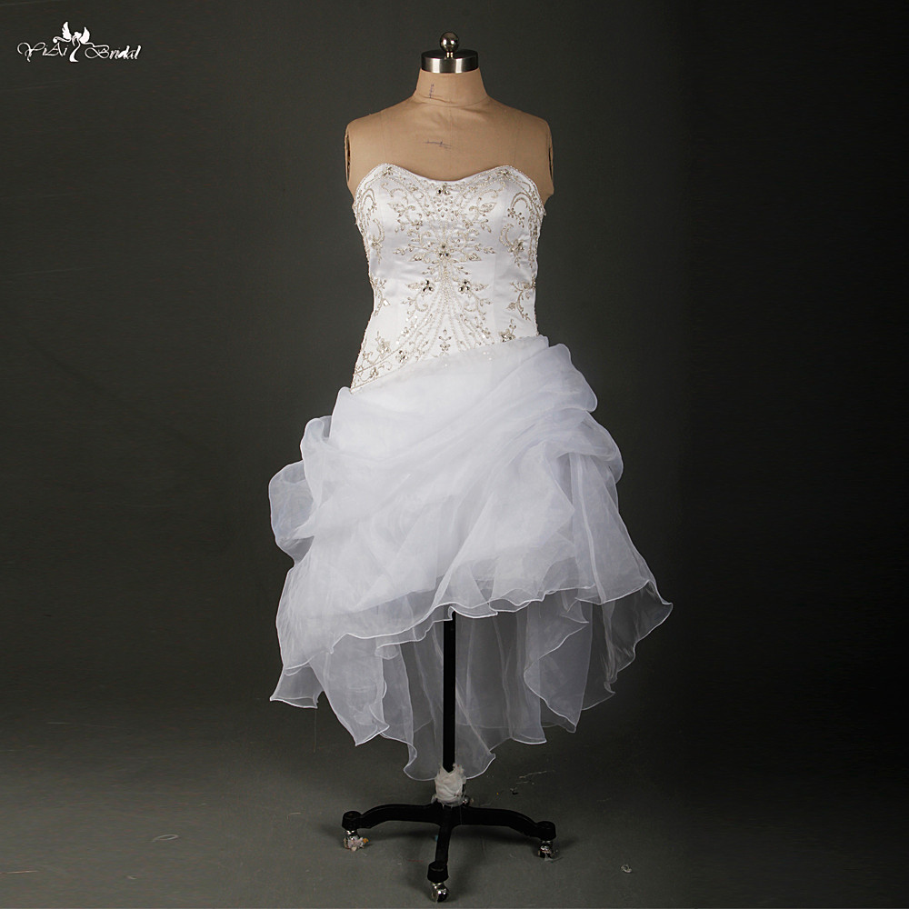 Organza High Low Wedding Dresses 2016 Spring Summer Sweetheart Plus Size Wedding Dress Embroidery Bling Bridal Gowns RSW897