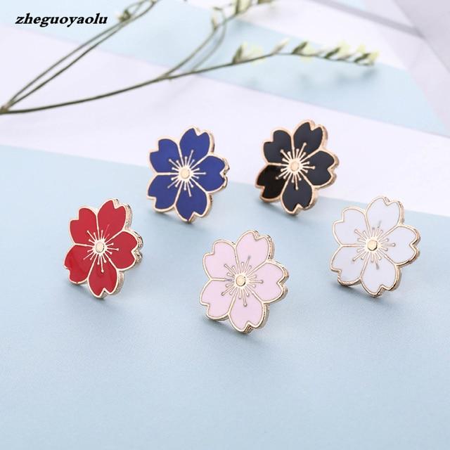 Fiore di ciliegio Oro Argento Spilla Pin Spilla Pin Badge Pin Per Borse di Stile Giapponese del Regalo Dei Monili Per Le Ragazze di Fiore Spilla