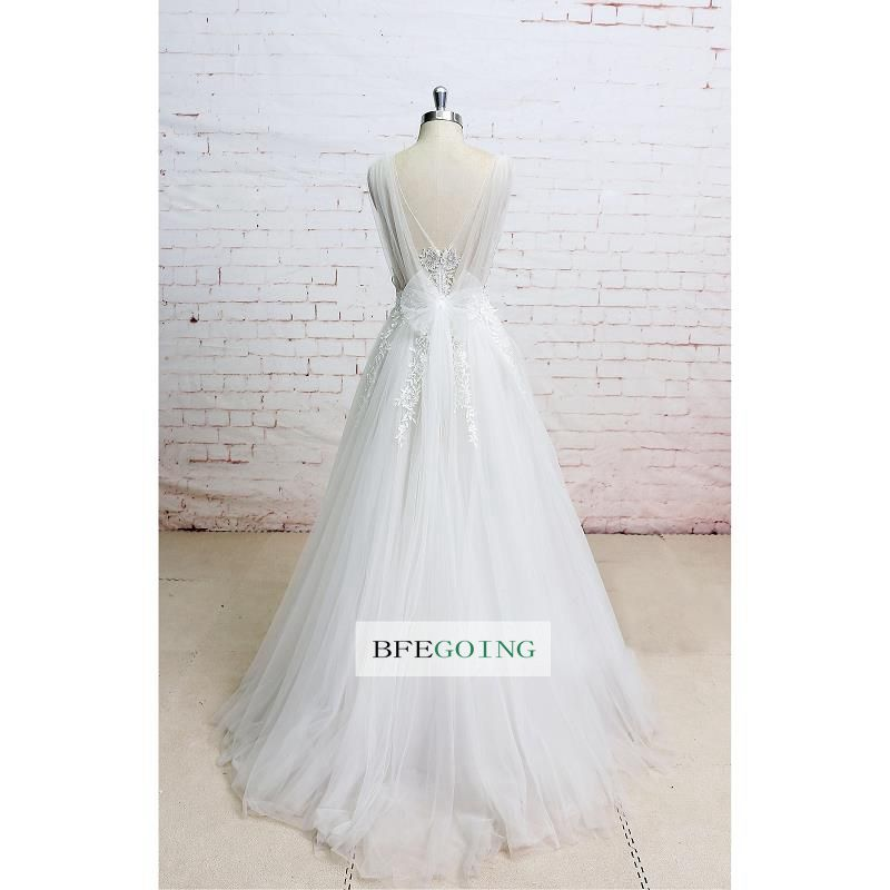 A-line Tulle Appliques V-neck Sleeveless Wedding Party Gown