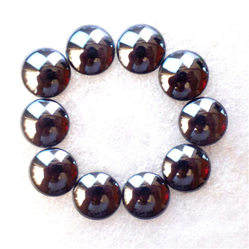(10 pieces/lot) Wholesale Natural Hematite Round CAB CABOCHON 15x4mm Free Shipping Fashion Jewelry Z4728